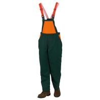 INDUSTRIAL Kalhoty s náprsenkou neprůřezné zeleno-oranžové 08935N