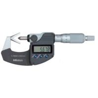 MITUTOYO Digitální třmenový mikrometr DIGIMATIC 10-25 mm s prizmatickým měřícím dotekem a výstupem dat s drážkou, 314-252-30