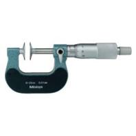 MITUTOYO Třmenový mikrometr 0-25 mm ve zvláštním provedení s noniem, talířkovými doteky a otáčivým vřetenem, 123-101