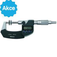 MITUTOYO Digitální třmenový mikrometr DIGIMATIC 0-25 mm ve zvláštním provedení s neotáčivým vřetenem, talířkovými měřícími doteky a výstupem dat, 369-250-30
