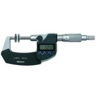 MITUTOYO Digitální třmenový mikrometr DIGIMATIC 75-100 mm ve zvláštním provedení s neotáčivým vřetenem, talířkovými měřícími doteky a výstupem dat, 369-253-30
