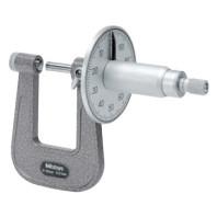 MITUTOYO Třmenový mikrometr 0-25 mm ve zvláštním provedení s kruhovým číselníkem, 119-202