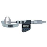 MITUTOYO Digitální třmenový mikrometr 0-25 mm ve zvláštním provedení s měřícími čelistmi s řehtačkou a výstupem dat, 343-250