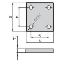 JC-METAL Základní deska pro typ 291, 40x50x8 mm 291020