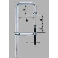 BESSEY Celokovová šroubová svěrka ve tvaru U GUZ, s přesahem, rozpětí 250 mm, vyložení 120 mm, přesah 60 mm, vysunutí vřetena 60 mm, GU25-12-6ZK