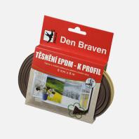Den Braven - Těsnicí profil z EPDM pryže, K profil, 9 mm x 4 mm x 6 m, hnědý B45501