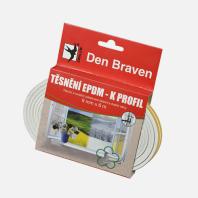 Den Braven - Těsnicí profil z EPDM pryže, K profil, 9 mm x 4 mm x 100 m, bílý B475RL