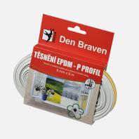 Den Braven - Těsnicí profil z EPDM pryže, P profil, 9 mm x 5,5 mm x 100 m, bílý B477RL