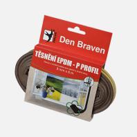 Den Braven - Těsnicí profil z EPDM pryže, P profil, 9 mm x 5,5 mm x 100 m, hnědý B478RL