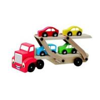Hračka Woody Tahač s návěsem pro přepravu aut 695432