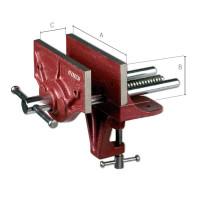 VíceúčelovPřenosný tesařský svěrák 15 cm H = 5,5 cm I = 12 cm max. Tloušťka stolu 52 mmý truhlářský svěrák 125-138785