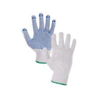 Canis Textilní rukavice FALO, s PVC terčíky, bílo-modré, vel. 7   334000110507